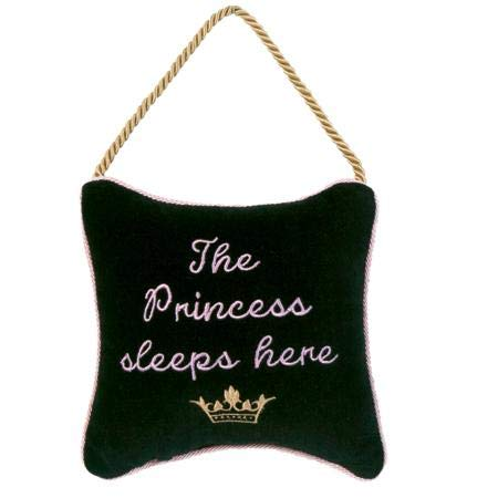 Door Princess Hanger (Leyla's Pillows Velvet Decorative The Princess Door Hanger, Gift for Nursery, Gift for Baby Girl, Black, 6