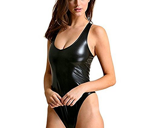 ffe21aa33ce1e YiZYiF Women Wet Look High Cut One-Piece Thong Leotard Bikini Bodysuit  Swimsuit Black One Size  Amazon.co.uk  Clothing