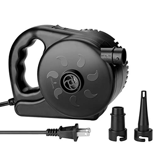 AGPTEK Electric Air Pump, High Power Air Pump Inflator &Deflator Valve with 2 Nozzles, Fast Filling Air Pump for Swimming Rings, Airbeds, Rafts, Inflatable Sofas &Inflatable Pools etc. 110 V (Black)