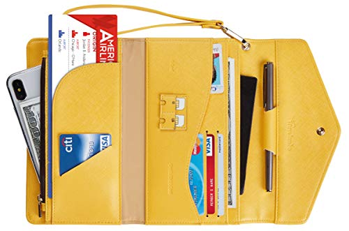 Travelambo Rfid Blocking Passport Holder Wallet & Travel Wallet Envelope Various Colors (SL Yellow)