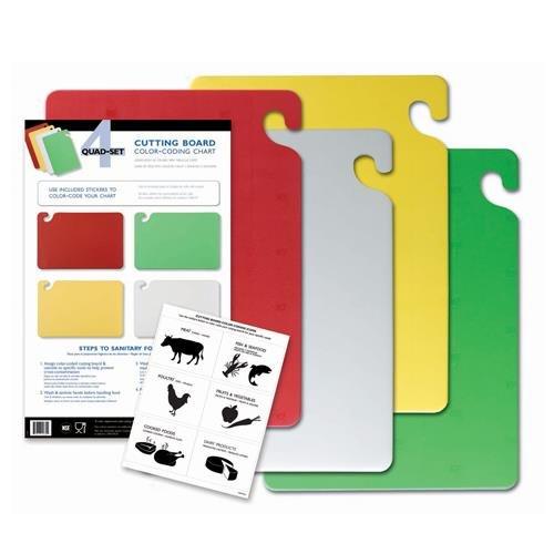 San Jamar CB1218QS 4 Piece Cut-N-Carry Board System Set with Free Smart Chart, 18