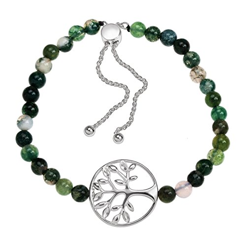 Family Tree Natural Green Agate Bead Bolo Bracelet in Sterling Silver