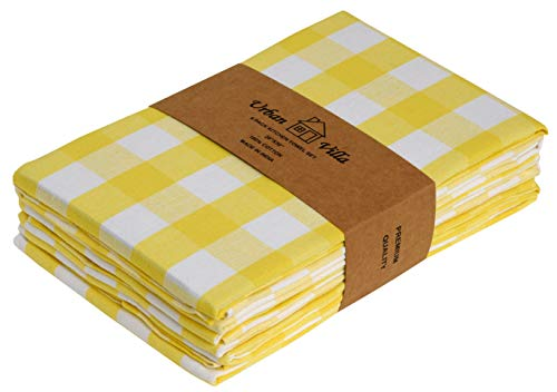 Urban Villa Buffalo Check Plaid- Kitchen Towels, Premium Quality,100% Cotton Dish Towels,Ultra Soft (Size: 20X30 Inch), Yellow/White Highly Absorbent Bar Towels & Tea Towels - (Set of 6)