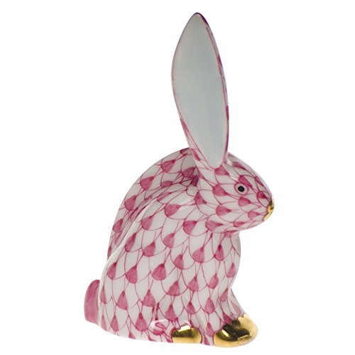 Herend Miniature Figurines (Herend Figurine Bunny Rabbit Miniature Raspberry Fishnet)