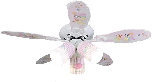 OOFAY LIGHT Habitación para niños Ventilador de Techo luz Moderna LED Ventilador eléctrico lámpara Colgante Ventiladores de Techo de Interior con iluminación,Pink ...