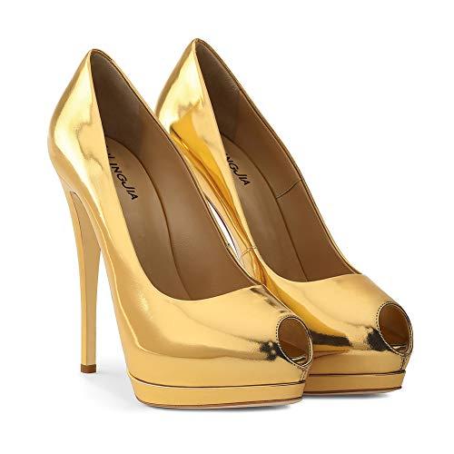 Classico mwoook Partito Pesce 476 Piattaforma Bocca Donna Gold Tacco Toe Alto Discoteca Pompe Scarpe Peep High Heels Sexy OqWCSvWw0