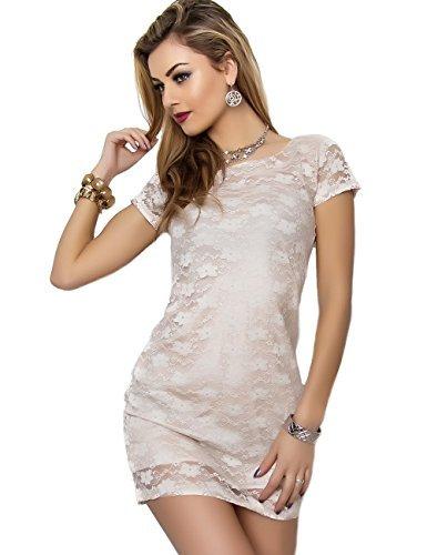 Mini vestido De encaje para vestido De fiesta, diseño De manga corta, color Beige
