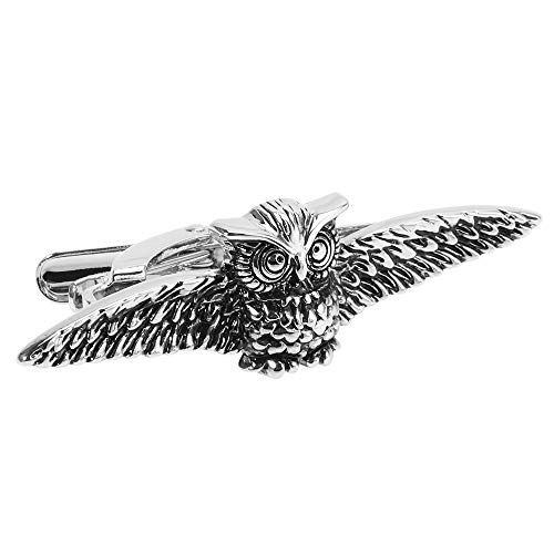 Happy Cool Owl Tie Clips Creative Engraved Hot Sale Brass Plated White Steel Animal Tie Clips