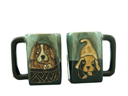 Mara Ceramic Stoneware 12 Oz. Playful Puppies Mugs (Set of 2)
