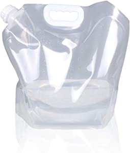 1.3 Gallon /2.6 Gallon Collapsible Water Container Bag, BPA Free Food Grade Clear Plastic Storage Jug for Sport Camping Riding Mountaineer,Freezable,Food Grade (1.3 Gal, 1-pack)