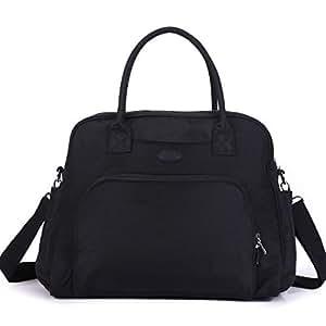 Lily & Drew Carry On Weekender Overnight Travel Shoulder Bag for 15.6 Inch Laptop Computers for Women (Black V2)