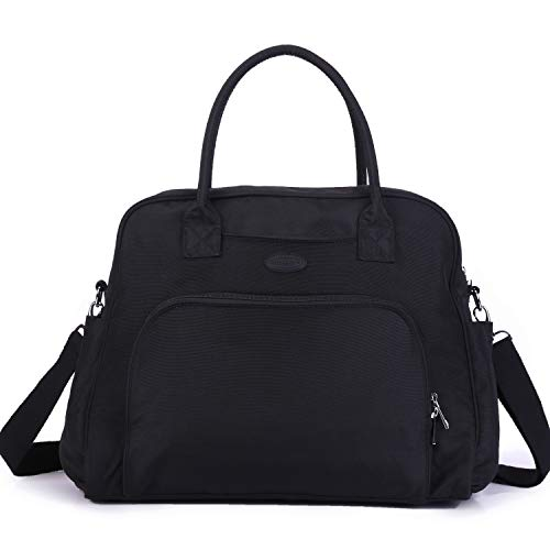 (Lily & Drew Carry On Weekender Overnight Travel Shoulder Bag for 15.6 Inch Laptop Computers for Women (Black V2) )