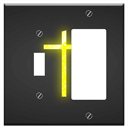1-Toggle 1-Rocker/GFCI Combination Wall Plate Cover - Cross Yellow Christian Church Religion Jesus