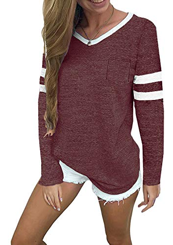 MISSLOOK Women's Color Block Shirts Baseball Tees Long Sleeve Striped Tunics Blouses Tops - Red XL Color Block Raglan Tee