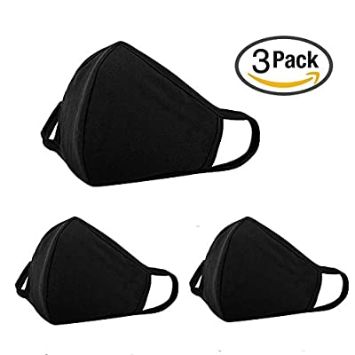 3 Pack Anti Dust Face Mouth Cover Mask Respirator - Dustproof Anti-bacterial Washable - Reusable Comfy Masks - Cotton Germ Protective Breath Healthy Safety Warm Windproof Mask for Man and Woman, Black
