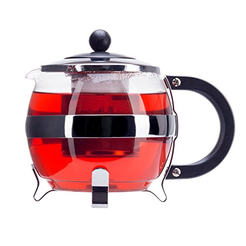 Find Bargain Stunning Glass Globe Teapot with Cozy Warmer, Borosilicate Glass, Beautiful Chrome Fini...