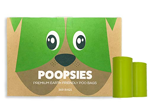 Poopsies Dog Poop Bags - Super Pack of 360 Premium Earth-Friendly Dog Waste Bags, Thick & Tough Green Poop Bags for Dogs Made with Renewable Corn Starch, Each Dog Poop Bag Measures 9 x 13 Inches