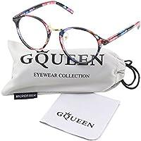 Glasses Queen 201565 Vintage Inspired Horned Rim Metal Bridge Clear Len Glasses
