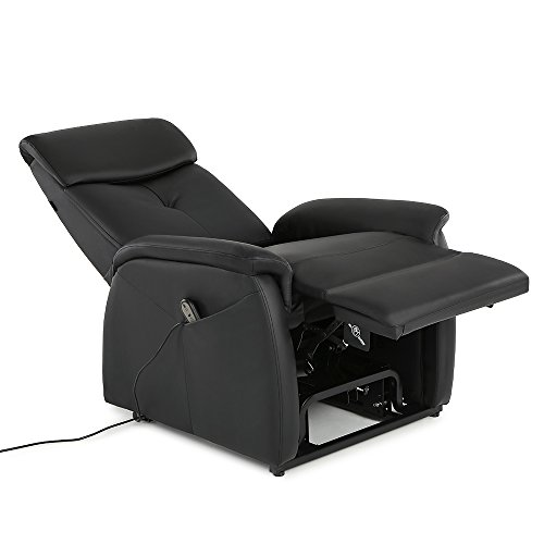 IKAYAA Modern Comfortable Power Lift Recliner Chair Padded PU Leather  Single Sofa Black With Controller