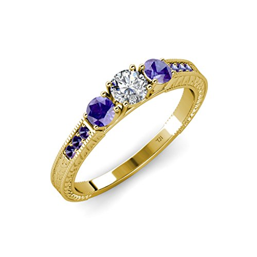 Diamond and Iolite 3 Stone Ring with Iolite on Side Bar 0.84 ct tw 14K Yellow Gold.size 6.5