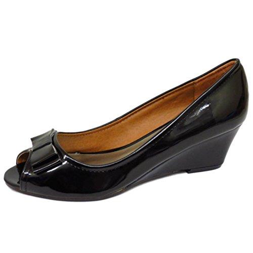 Damen Schwarz Lack zum Reinschlüpfen Niedriger Keilabsatz Works Smart Hof Peep-Toe Schuhgrößen 5-9