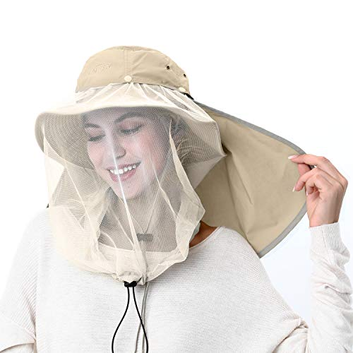 Palmyth Mosquito Head Net Hat Safari Hiking Fishing Hats Sun Protection Water Repellent Bucket Boonie Hats with Removable Neck Flap Hidden Net UV UPF 50+ from Bug Insect for Men Women Outdoor (Khaki) (Safari Rain Hat)