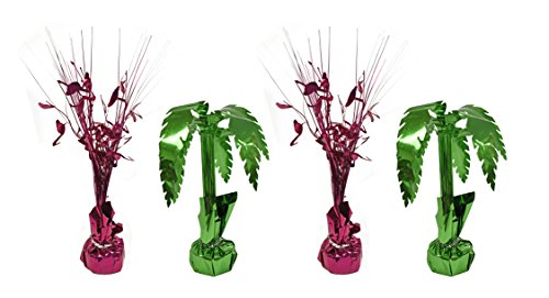 Set of 4 Spray Centerpieces! Flamingo and Palm Tree Themed! Perfect for Luaus BBQs Parties and More!