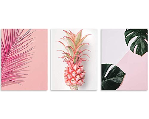 (TutuBeer Plant Wall Art with Pink Pineapple at Pink Background Tropical Wall Decor Green Plant Art 12