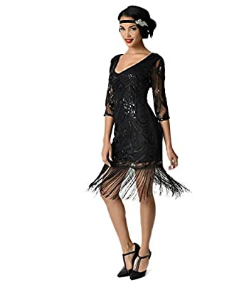 Unique Vintage Black Beaded & Sequin Margaux Sleeved Fringe Flapper Dress