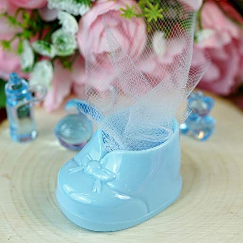 BalsaCircle 36 pcs Light Blue Plastic Booties Baby Shower Favor Holders - Wedding Party Accessories Decorations Candy Supplies Gift