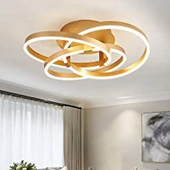 Interior Lighting Maxax Modern Flush Mount LED Chandelier Gold Acrylic Pendant Light with 3 Ring for Dining Room,Bathroom, Bedroom,Living… modern wall sconces