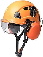 Transparent Lens Outdoor Rock Climbing Industrial Protection Lightweight Orange Safety Helmet Earmuff Kit for