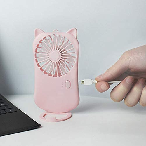 Hui Jin leichter tragbarer Mini-USB-Ventilator, leise, leise, batteriebetrieben, wiederaufladbar, für Zuhause, Büro, Reisen und Outdoor, Blau