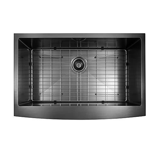 Sarlai SAB3622R1 36 inch Black Farmhouse Apron Single Bowl 16 gauge Stainless Steel Kitchen Sink