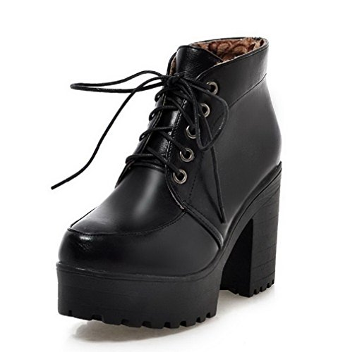 AgooLar Women's Solid PU High-Heels Lace-up Round Closed Toe Boots Black