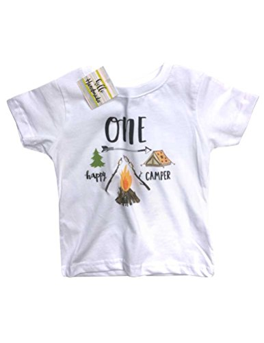 Hello Handmade ONE happy Camper First birthday baby Infant Soft Shirt camping (18 Months Shirt, White)