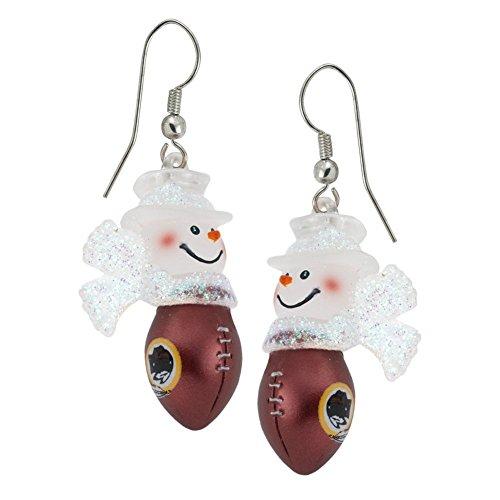 Washington Redskins - Snowman Football Dangle Earrings