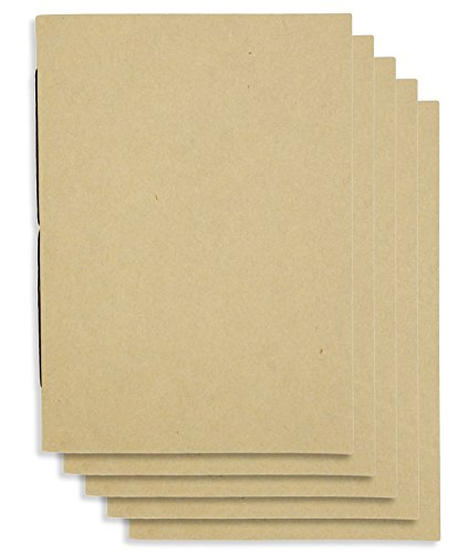 ((Set of 5) A6 Handmade 4 x 5.75 inches Notebook/Plain Blank Cover/60 Unlined Page | Lay Flat Binding | Cream)