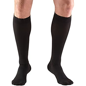 Truform Closed Toe, Knee High 20-30 mmHg Compression Stockings, Black, Large