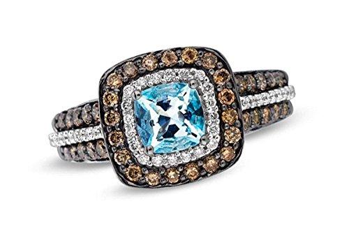 LeVian Blue Aquamarine Ring Chocolate and Vanilla Diamonds 1 50 cttw 14K  White Gold (8 5)