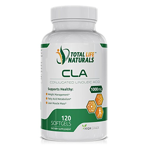 Conjugated Linoleic Acid CLA Complex / Safflower Oil Supplement, 1000mg | Natural Fat Burner, Weight Loss & Muscle Builder Capsules for Men and Women | Made in the USA by Total Life Naturals