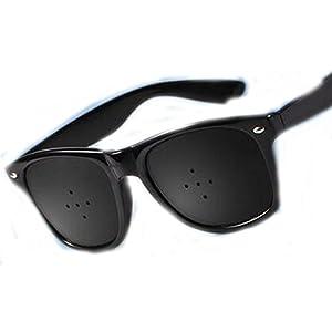 Dowels Hole Sunglasses Anti-Myopia Glasses Eye Exercise Improve Natural Healing Anti-fatigue,BLACK