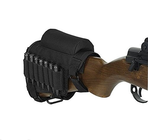 Review Rifle Buttstock, Hunting Shooting Tactical Cheek Rest Pad Ammo Pouch with 7 Shells Holder (Black)
