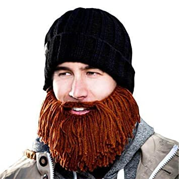2a8f35a8b25 Beard Head Barbarian Vagabond - Black Beanie + Short Knitted Brown Beard   Amazon.co.uk  Sports   Outdoors