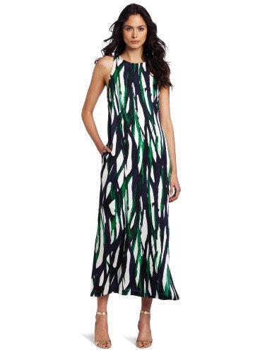 AK Anne Klein Women's Modern Line Print Maxi Dress