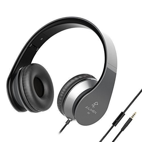 AILIHEN I60 Bass Headphones with Microphone 3.5mm Lightweight Foldable On ear Adjustable Headsets for Cellphones Smartphones iphone Laptop Computer MP3/4 for Music Gaming (Grey) ...