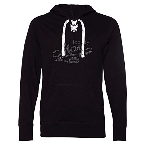 Hockey Hoody Lace - Let's Hear It For Spirit Hockey Mom Hoodie T-Shirt with Skate Lace String and Rhinestones (Small)