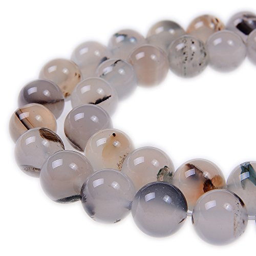 PLTbeads 4mm White Flower Agate Smooth Round Shape Natural Gemstone Loose Beads For 1 Strand per Bag Approxi 15.5 inch 98pcs Jewelry Making