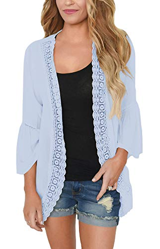 PRETTODAY Women's Ruffle Bell Sleeve Kimono Cardigans Lace Cover Up Loose Blouse Tops Light Blue