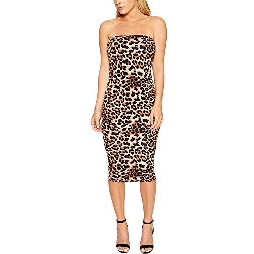 Womens Tube Slip Dress Leopard Print Strapless Shoulder Bodycon Midi Tube Dress(Leopard-X-Large) ()
